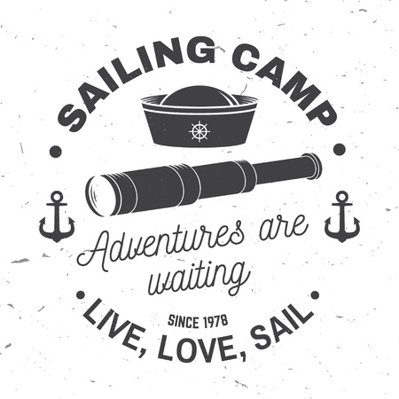 Set of summer sailing camp badge. Vector. Concept for shirt, print or tee. Vintage typography design with black sea anchors and rope knot silhouette. Best Sporting Activity
