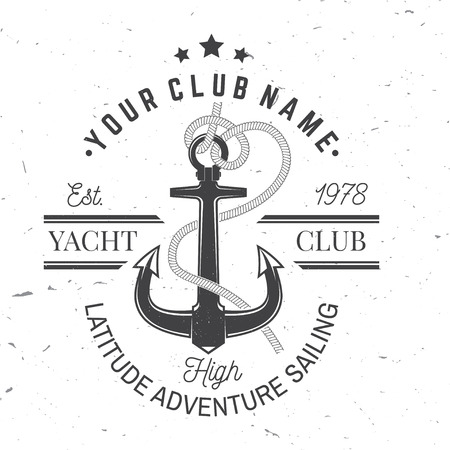 Yacht club badge. Vector. Concept for yachting shirt, print, stamp or tee. Vintage typography design with black sea anchor and rope knot silhouette. Best Sporting Activity Banco de Imagens - 121662431