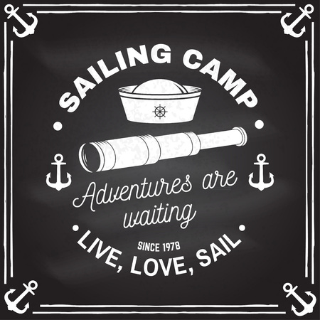 Summer sailing camp badge. Vector. Concept for shirt, print, stamp or tee. Vintage typography design with anchor, hand wheel, sailor cap and spyglass silhouette. Live, love, sail.