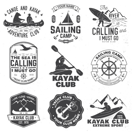 Set of sailing camp, canoe and kayak club badges. Vector. Concept for shirt, print, stamp or tee. Vintage typography design with mountain, river, kayaker silhouette. Extreme water sport. 向量圖像