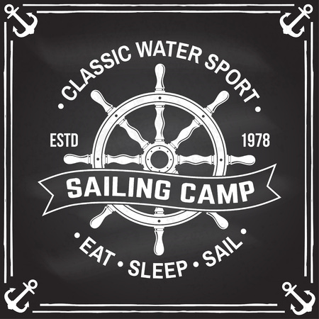 Yacht club badge. Vector. Concept for shirt, print, stamp or tee. Vintage typography design with black sea anchor , steering hand wheel ship and rope knot silhouette. Ocean adventure.