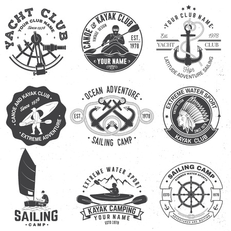 Set of sailing camp, canoe and kayak club badges. Vector. Concept for shirt, print, stamp or tee. Vintage typography design with mountain, river, kayaker silhouette. Extreme water sport. Ilustrace