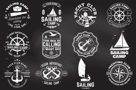 Set of sailing camp and yacht club badge. Vector. Concept for shirt, print or tee. Vintage typography design with black sea anchors, hand wheel, compass and sextant silhouette. Фото со стока - 121662470