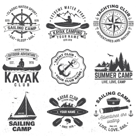 Set of sailing camp, canoe and kayak club badges. Vector. Concept for shirt, print, stamp or tee. Vintage typography design with mountain, river, kayaker silhouette. Extreme water sport.  イラスト・ベクター素材