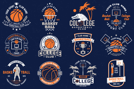 Set of basketball club badge. Vector. Graphic design for t-shirt, tee, print or apparel. Vintage typography design with basketball hoop and ball silhouette. Illustration
