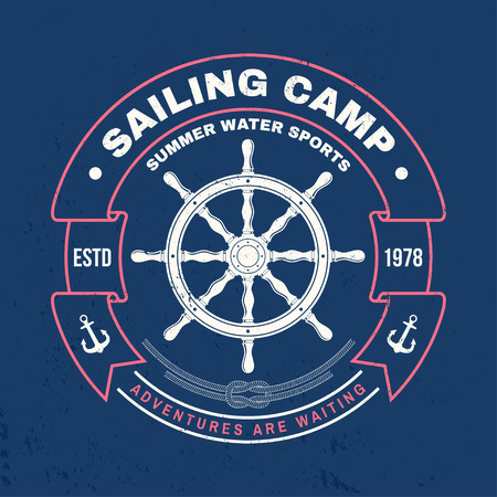 Sailing camp badge. Vector. Concept for shirt, print, stamp or tee. Vintage typography design with black sea anchor , steering hand wheel ship and rope knot silhouette. Ocean adventure.