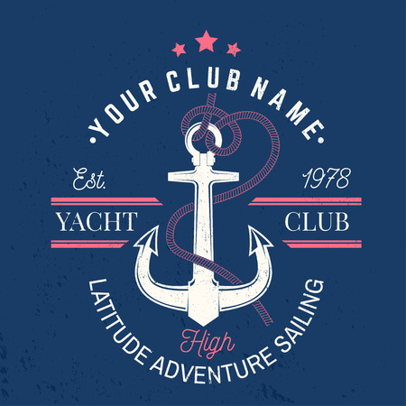 Yacht club badge. Vector. Concept for yachting shirt, print, stamp or tee. Vintage typography design with black sea anchor and rope knot silhouette. Best Sporting Activity