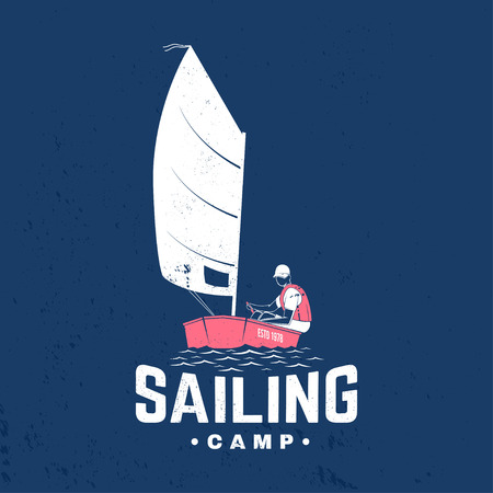 Sailing camp badge. Vector. Concept for shirt, print, stamp or tee. Vintage typography design with man in sailboats silhouette. Sailing on small boat. Ocean adventure.
