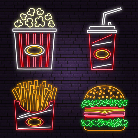 Retro neon burger, cola, popcorn and french fries sign on brick wall background. Design for cafe. Vector. Neon design for pub or fast food business. Light sign banner. Glass tube.