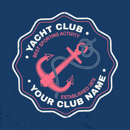 Yacht club badge. Vector. Concept for shirt, print, stamp or tee. Vintage typography design with black sea anchor and rope knot silhouette.