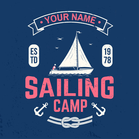 Sailing camp badge. Vector. Concept for shirt, print, stamp or tee. Vintage typography design with man in sailboats silhouette. Sailing on small boat. Ocean adventure. Classic water sport Çizim