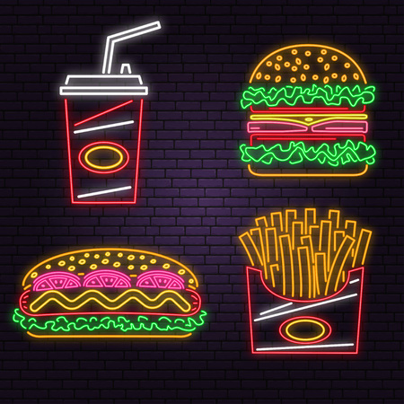 Retro neon burger, cola, hot dog and french fries sign on brick wall background. Design for cafe. Vector. Neon design for pub or fast food business. Light sign banner. Glass tube