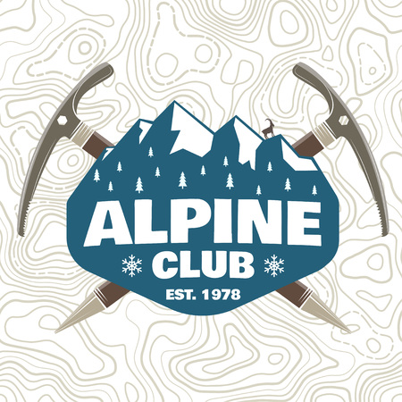 Alpine club patch. Vector. Concept for shirt or badge, print, stamp or tee. Vintage typography design with ice axe, rock climbing Goat and mountain silhouette. Outdoors adventure emblem.