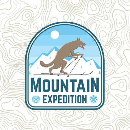 Mountain expedition patch. Vector. Concept for shirt or badge, print, stamp or tee. Vintage typography design with wolf on the ski silhouette. Outdoors adventure emblem. Illustration