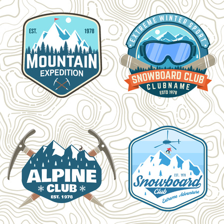 Set of mountain expedition and snowboard club patches. Vector. Concept for shirt or badge, print. Vintage typography design with mountaineers and mountain silhouette. Outdoors adventure emblems