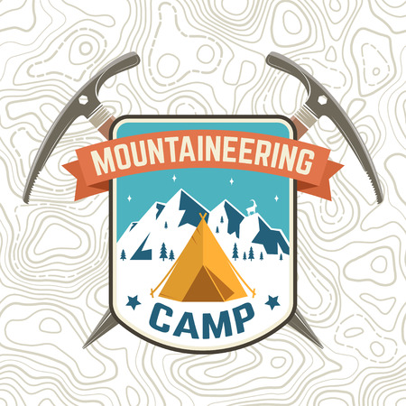 Mountaineering camp patch. Vector. Concept for alpine club shirt or badge, print, stamp or tee. Vintage typography design with ice axe, camping and mountain silhouette. Outdoors adventure emblem.