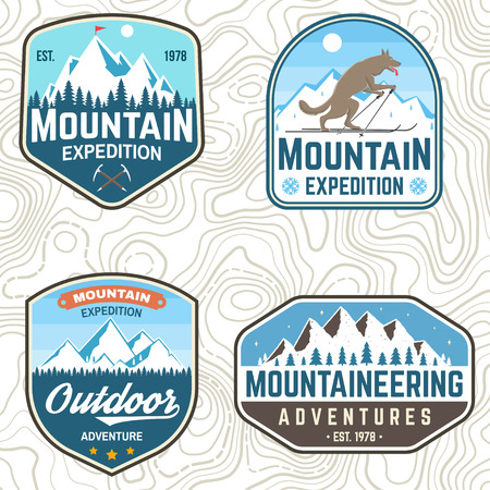 Set of mountain expedition patches. Vector. Concept for alpine club shirt or badge, print, stamp. Vintage typography design with mountaineers and mountain silhouette. Outdoors adventure emblems Illustration