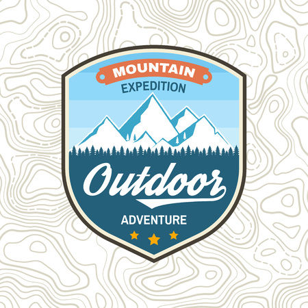 Mountain expedition patch. Vector. Concept for shirt or badge, print, stamp or tee. Vintage typography design with winter mountain silhouette.
