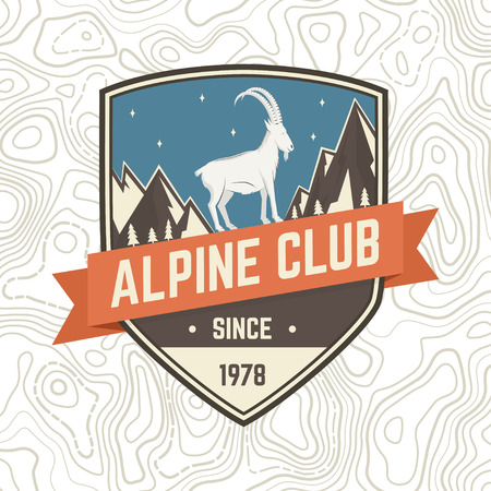 Alpine club patch. Vector. Concept for shirt or badge, print, stamp or tee. Vintage typography design with rock climbing Goat and mountain silhouette. Outdoors adventure emblem.