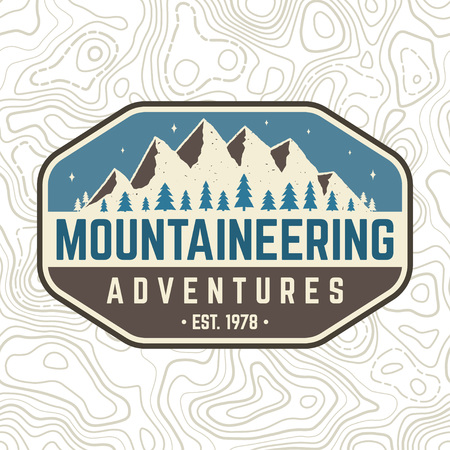 Mountaineering adventure patch. Vector. Concept for alpine club shirt or badge, print, stamp or tee. Vintage typography design with mountain silhouette. Illustration