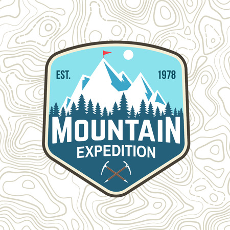 Mountain expedition patch. Vector. Concept for shirt or badge, print, stamp or tee. Vintage typography design with ice axe and mountain silhouette. Outdoors adventure emblems.