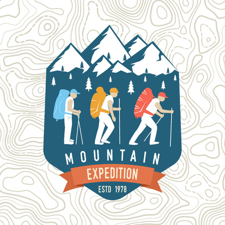 Mountain expedition patch. Vector. Concept for shirt or badge, print, stamp or tee. Vintage typography design with mountaineers and mountain silhouette.