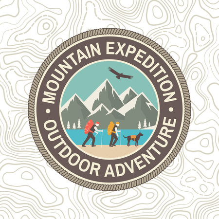 Mountain expedition patch. Vector. Concept for shirt or badge, print, stamp or tee. Vintage typography design with mountaineers and mountain silhouette. Outdoors adventure emblem.