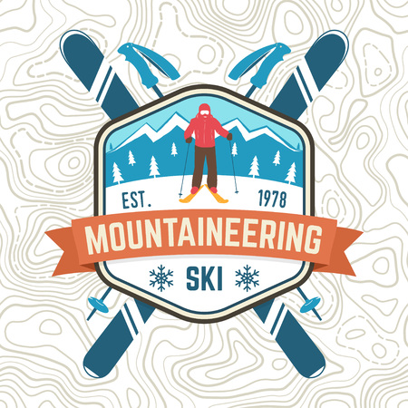 Mountaineering ski patch. Vector ski club retro badge. Concept for alpine club shirt, print. Vintage typography design with mountain silhouette and skier. Family vacation, activity or travel.