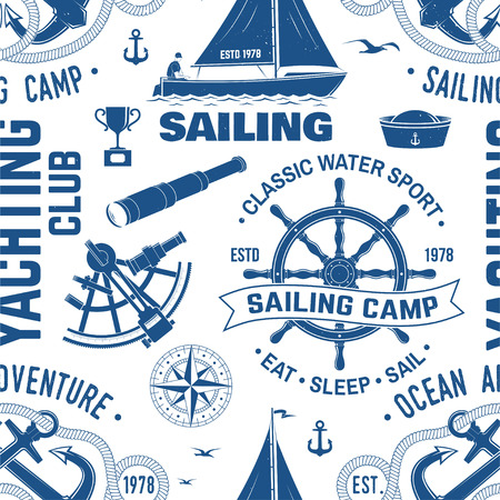 Yacht club seamless pattern or background. Vector. Concept for yachting shirt, print, stamp or tee. Design with sea anchor, hand wheel, compass, sextant and rope knot silhouette.