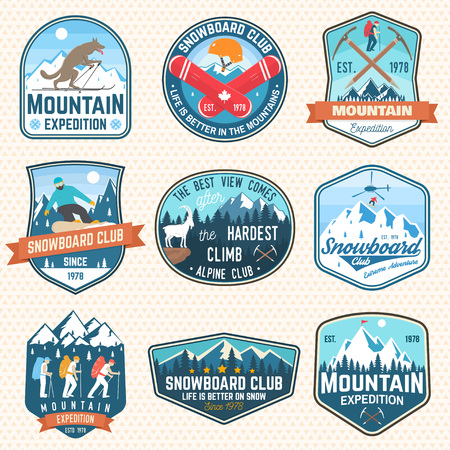 Set of mountain expedition and snowboard club patch. Vector. Concept for badge, print, stamp. Vintage typography design with mountaineers and mountain silhouette. Outdoors adventure emblems.