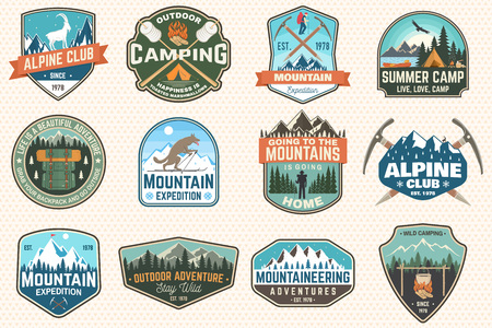 Set of mountain expedition and summer camp patches. Vector Concept for shirt or print, stamp, badge. Vintage typography design with forest camp, mountains expedition. Outdoors adventure emblems