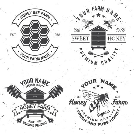 Set of Honey bee farm badge. Vector. Concept for shirt, stamp or tee. Vintage typography design with bee, hive and bear beekeeper silhouette. Retro design for honey bee farm business Illustration