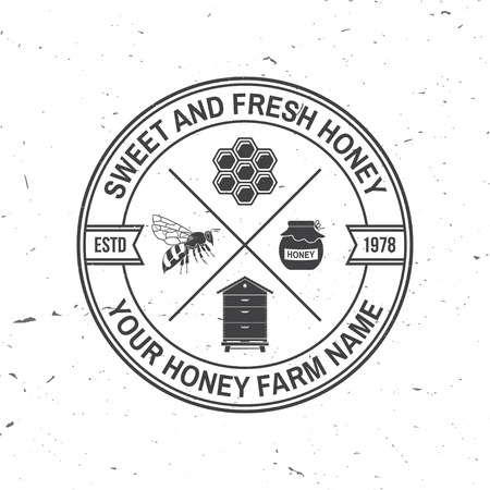 Honey farm badge. Vector. Concept for shirt, print, stamp or tee. Vintage typography design with bee, hive and honey dipper silhouette. Retro design for honey bee farm business
