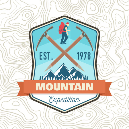 Mountain expedition patch. Vector. Concept for shirt or badge, print, stamp or tee. Vintage typography design with ice axe, mountaineer and mountain silhouette. Outdoors adventure emblem.