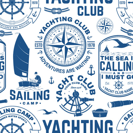 요트 클럽 원활한 패턴 또는 배경입니다. 벡터. 요트 셔츠, 인쇄, 스탬프 또는 티에 대한 개념. 바다 앵커, 핸드 휠, 나침반, 육분의 및 로프 매듭 실루엣으로 디자인합니다.