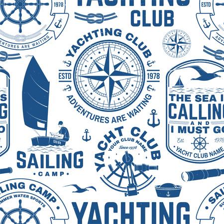 Modello o fondo senza cuciture dello yacht club. Vettore. Concetto per camicia da diporto, stampa, timbro o t-shirt. Design con ancora marina, volantino, bussola, sestante e sagoma di nodo di corda.