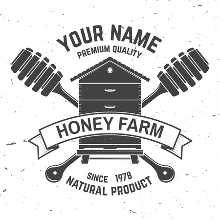 Honey farm badge. Vector. Concept for shirt, print, stamp or tee. Vintage typography design with hive and honey dipper silhouette. Retro design for honey bee farm business Ilustrace