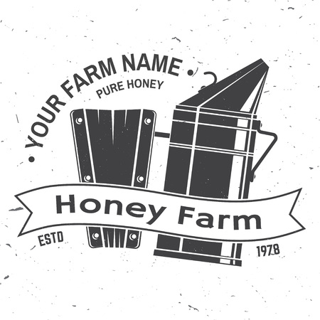 Honey bee farm badge. Vector. Concept for shirt, print, stamp or tee. Vintage typography design with bee smoker silhouette. Retro design for honey bee farm business