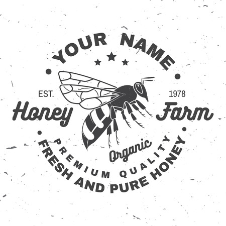 Honey farm badge. Vector. Concept for shirt, print, stamp or tee. Vintage typography design with bee silhouette. Retro design for honey bee farm business. Fresh and pure honey Illustration