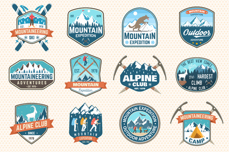 Set of mountain expedition patch. Vector. Concept for alpine club shirt or badge, print, stamp. Vintage typography design with mountaineers and mountain silhouette. Outdoors adventure emblems.