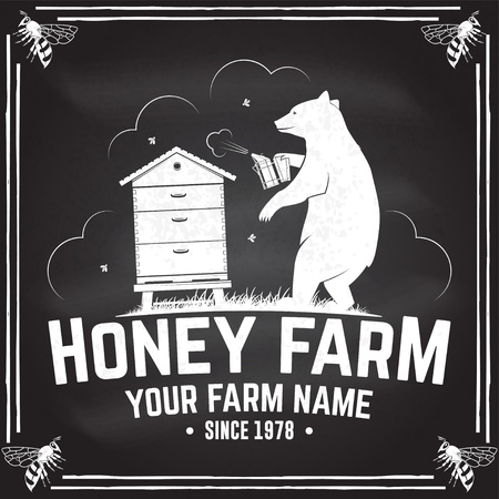 Honey bee farm badge. Vector. Concept for shirt, print, stamp or tee. Vintage typography design with hive and bear beekeeper silhouette. Retro design for honey bee farm business
