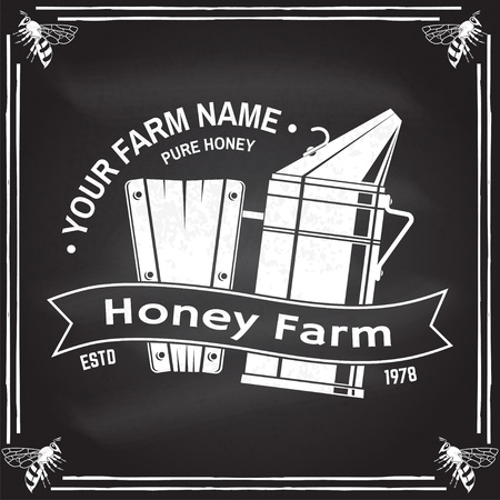 Honey bee farm badge. Vector. Concept for shirt, print, stamp or tee. Vintage typography design with bee smoker silhouette. Retro design for honey bee farm business.