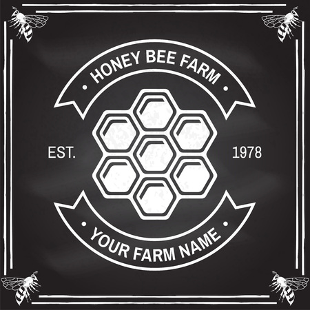 Honey farm badge. Vector on the chalkboard. Concept for shirt, stamp or tee. Vintage typography design with honey silhouette. Retro design for honey bee farm business