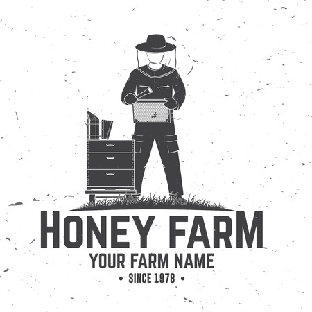 Honey bee farm badge. Vector. Concept for shirt, print, stamp or tee. Vintage typography design with hive and beekeeper silhouette. Retro design for honey bee farm business Illustration