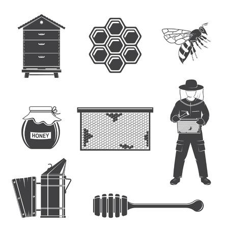 Ensemble d'icônes de silhouette d'équipement d'apiculture. Vecteur. L'ensemble comprend un apiculteur, une abeille, une ruche, un fumeur d'abeilles, des nids d'abeilles, de la propolis, une louche. Icônes d'équipement pour l'entreprise agricole d'abeilles mellifères.