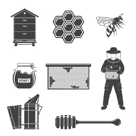 Set of beekeeping Equipment silhouette icons. Vector. Set include beekeeper, bee, beehive, bee smoker, honeycombs, propolis, dipper. Equipment icons for honey bee farm business.