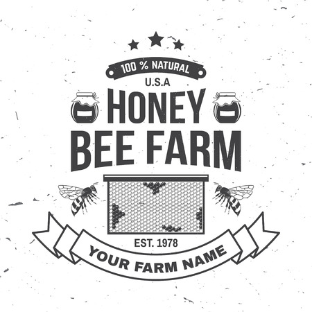 Honey farm badge. Vector. Concept for shirt, print, stamp or tee. Vintage typography design with bee, honeycomb piece and silhouette. Retro design for honey bee farm business Illustration