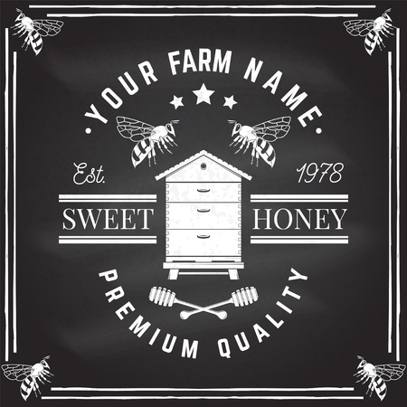Honey farm badge. Vector on the chalkboard. Concept for shirt, stamp or tee. Vintage typography design with bee, hive and honey dipper silhouette. Retro design for honey bee farm business