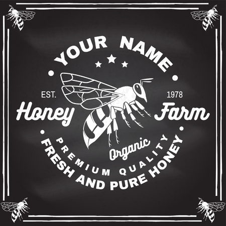 Honey farm badge. Vector on the chalkboard. Concept for shirt, stamp or tee. Vintage typography design with bee silhouette. Retro design for honey bee farm business. Fresh and pure honey Ilustração