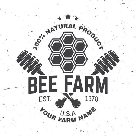 Honey farm badge. Vector. Concept for shirt, print, stamp or tee. Vintage typography design with honeycomb piece and honey dipper silhouette. Retro design for honey bee farm business